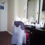 Dressing table area, tea/coffee facilities and hair dryer on wall