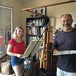 My daughter and Paul finishing off our paintings in Paul's studio