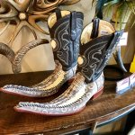 Extraordinary boots in a Main Street shop.