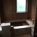 "Private, ""open-air"" onsen, separated from shower by locking, sliding door"
