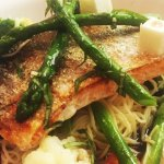Salmon with Angel Hair Pasta & Red Wine Sauce