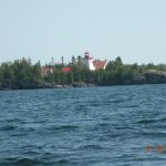The Misssissagi Lighthouse from the North-West about 1/2 km off shore.