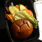 Beef burger is delicious with lots of vegetables good for 2 persons