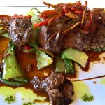 Thai beef on a bed of Bok Choy