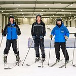 Group of skiers enjoying their time on the slope