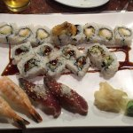 Sushi Platter of Shrimp & Bonito, with Eel Cucumber Roll & Shrimp Temura Roll
