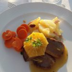 Breast of duck with orange sauce, carrots and potatoes; absolutely incredible