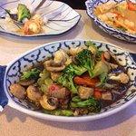 Pad Pak Nam Mun Hoy (a vegetarian dish)