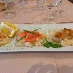risoto saumon, crevettes, noix de St Jacques