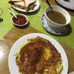 Our dinner, we ordered the cheapest one.... Onion omelet, onion soup and chicken sandwitch