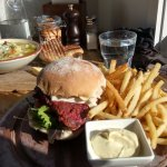 Seafood chowder, Lamb and Beetroot Burger
