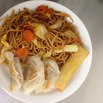 Noodles, dumplings and spring roll