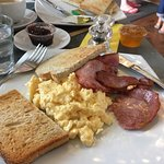 Excellent scrambled eggs great bacon