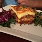 Pastitsio - Greek noodles, ground beef, graviera cheese and topped with béchamel sauce