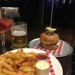 Burger, chips and beer at Eves Bar