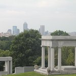 Indianapolis skyline from high point of Crown Hill Cemetery