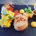 Scallops with sweetcorn textures