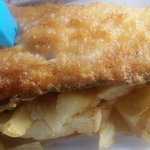 Haddock and chips,Skin on but not to worry
