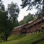 Lodge facing the lake with rooms and conference center