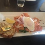 Hot smoked salmon & poached egg salad. (Starter off normal menu)