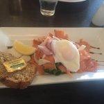 Hot smoked salmon & poached egg salad. (Starter off normal menu)