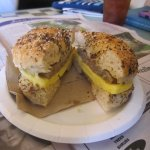 Sausage & egg sandich on multi-grain bagel
