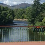 View of the river Earn from the bridge in Comrie.
