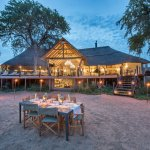 Kambaku River Sands main lodge overlooks a dry river bed, a perfect under the stars dinner venue