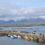 Connemara's Twelve Bens from Roundstone docks.