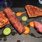 Pork belly with waffles starter
