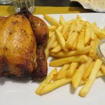 small roast chicken and chips