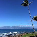 """View of the island of Molokai from our ocean front walkway at the """"Point""""!"""