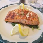 broiled salmon over plain spinach