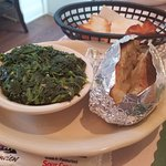 spinach with garlic and baked potato