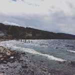 View from the shoreline: Dores Inn outdoor seating