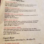 Beer sampler menu