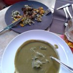 Spinach soup, grilled duck liver with riccotta
