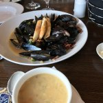 The crab chowder and the steamed mussels were excellent!