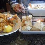 Calamari (left) and Seafood Fondue