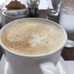 A huge latte at Bitton Bistro