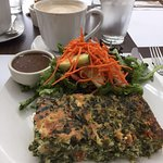 The spinach quiche and salad
