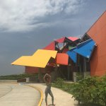 Outside of the Museum. Bright Vibrant Colors and Cool Structure!!