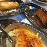 Polenta, fried plantains and smashed potatoes