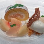 Peach Roll Cake and Compote, with Yogurt Gelato