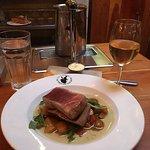 Tuna Steak and Glass of Wine