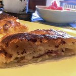 Breakfast quichey calzone type thing.  Excellent.