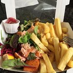 Hot Smoked Salmon, chips, salad and spiced pickled onion (in tub).