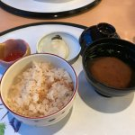 mixed rice with scallops, salmon roe, miso soup and pickles