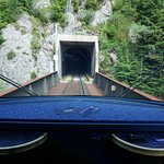 Entering a tunnel.