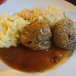 Leberködel, Sauerkraut, Kartoffelbrei